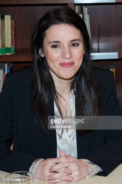 Minister of Equality Irene Montero attends a meeting with APRAMP on March 06 2020 in Madrid Spain