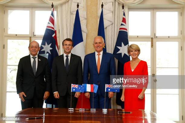 Minister of Europe and Foreign Affairs JeanYves Le Drain French president Emmanuel Macron Australian Prime Minister Malcolm Turnbull and Minister of...