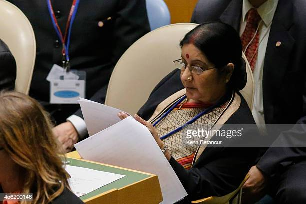 Minister of External Affairs of India Sushma Swaraj listens to a speech by Prime Minister of the Republic of India Narendra Modi at the 69th United...
