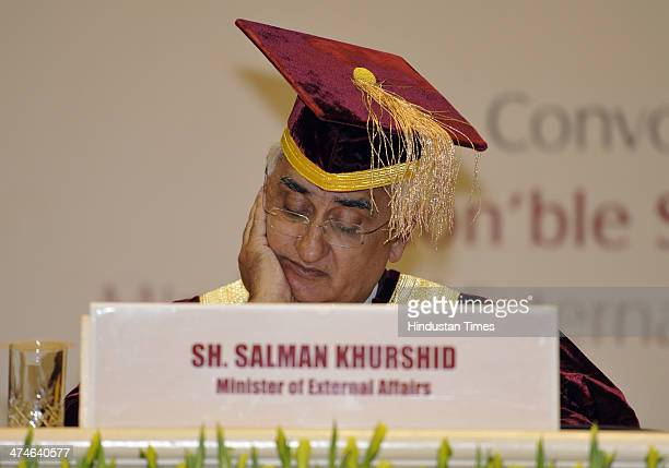 Minister of External Affairs Salman Khurshid during the Special convocation national Law University for conferment of LL.D. Of Governor General of...