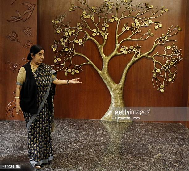 Minister of External Affairs Sushma Swaraj after meeting with the family members of Indian trapped in Iraq at her office on February 21 2015 in New...