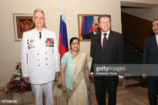 Ambassador of Mexico to India Melba Pria during a music program to celebrate the National Day of Russia at Embassy of the Russian Federation on June...