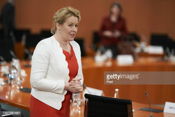 Minister of Family Affairs Franziska Giffey arrives for the weekly German government cabinet meeting on March 18 2020 in Berlin Germany As a measure...