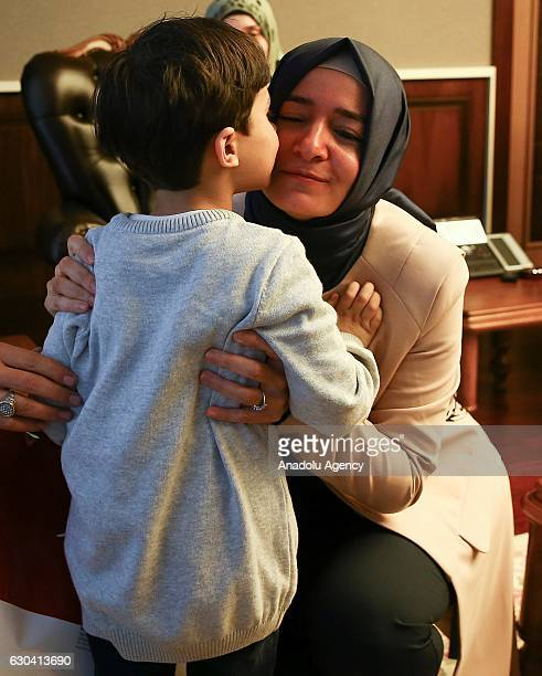 Minister of Family and Social Policy Fatma Betul Sayan Kaya meets brother of Syrian Bana Alabed sevenyearold girl who tweeted on attacks from Aleppo...