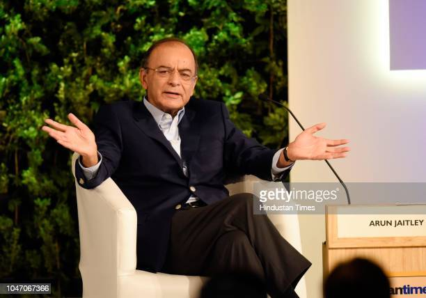 Minister of Finance and Corporate Affairs Arun Jaitley speaks during a second day of Hindustan Times Leadership Summit 2018 at Taj Palace on October...