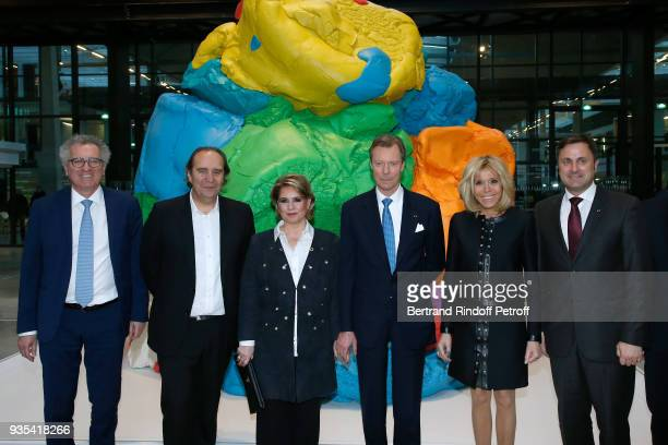 Minister of Finance of Luxembourg Pierre Gramegna CEO at Iliad and Fondator of the 'Station F' Xavier Niel LLAARR GrandDuc Henri and GrandeDuchesse...