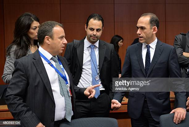 Minister of Finance of the Republic of Cyprus Harris Georgiades at the start of the Eurogroup finance ministers meeting at the European Council...