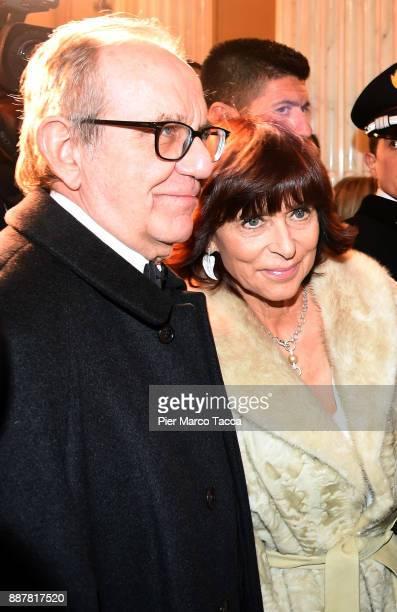 Minister of Finance Pier Carlo Padoan and his wife Maria Grazia Reitano attend the Prima Alla Scala at Teatro Alla Scala on December 7 2017 in Milan...