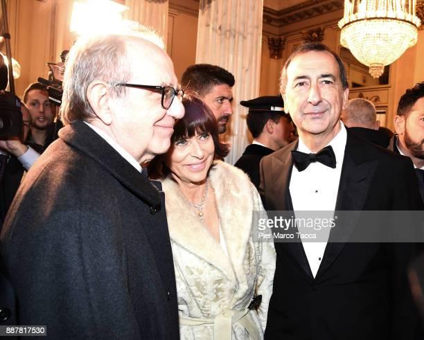 Minister of Finance Pier Carlo Padoan his wife Maria Grazia Reitano and Giuseppe Sala attend the Prima Alla Scala at Teatro Alla Scala on December 7...
