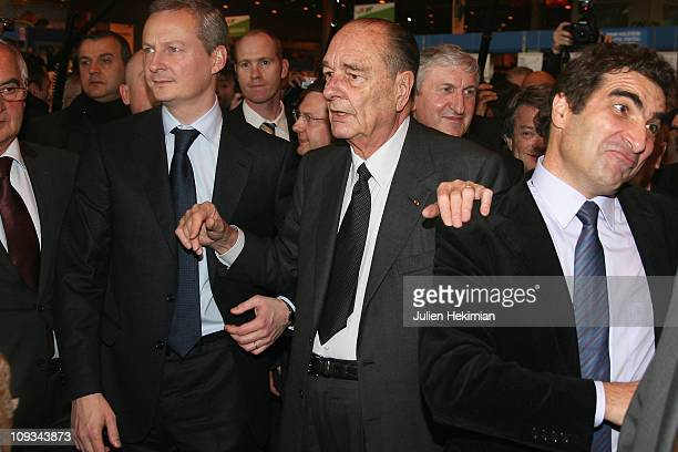 Minister of Food Agriculture and Fishing Bruno Le Maire former President Jacques Chirac and former minister in Chirac's second term Christian Jacob...