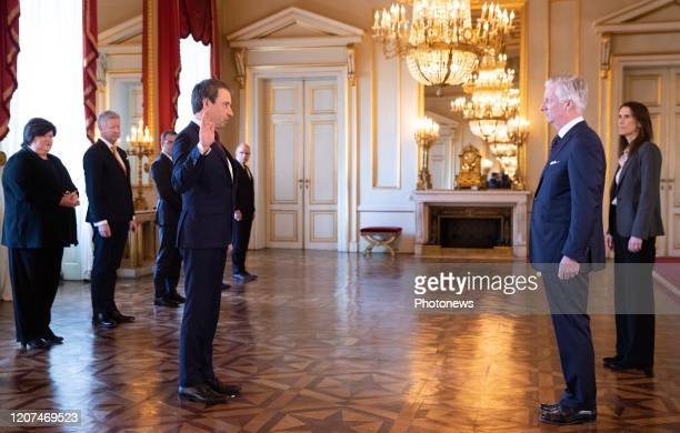 Minister of Foreign Affairs and Defence Philippe Goffin King Philippe Filip of Belgium and Belgian Prime Minister Sophie Wilmes pictured during the...
