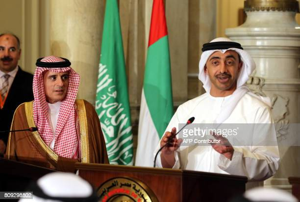 UAE Minister of Foreign Affairs and International Cooperation Abdullah bin Zayed AlNahyan talks to reporters as he stands next to Saudi Foreign...