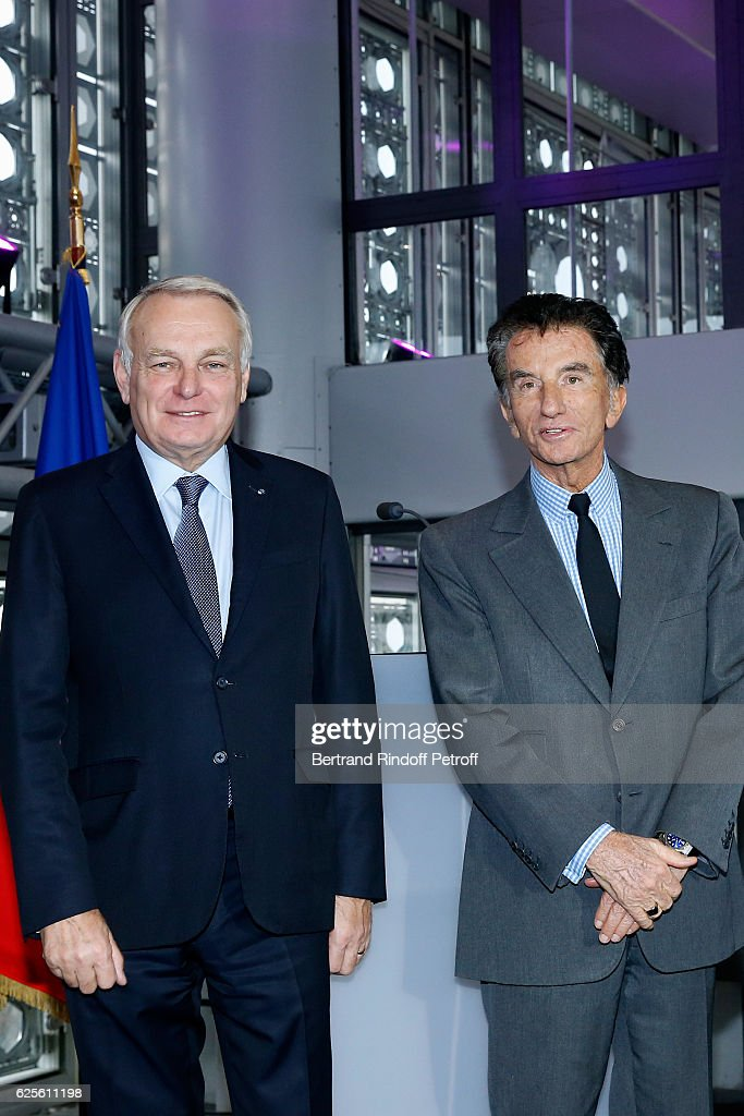 Minister of Foreign Affairs and International Development, Jean-Marc Ayrault and President of the 'Institut du Monde Arabe' Jack Lang attend the 'Aventuriers des Mers : De Sindbad a Marco Polo ' Press Preview at Institut du Monde Arabe on November 24, 2016 in Paris, France