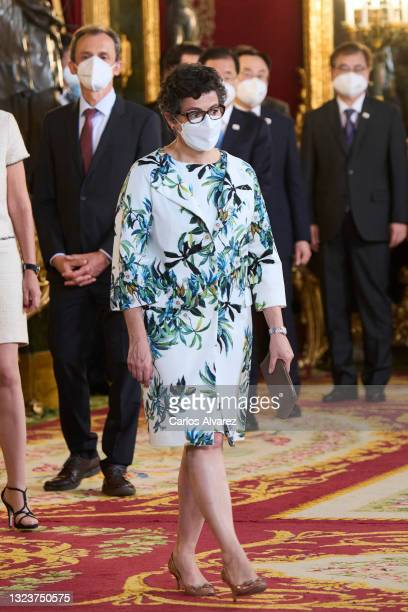 Minister of Foreign Affairs, European Union and Cooperation Arancha Gonzalez Laya attends a State Dinner honouring Korean President at the Royal...