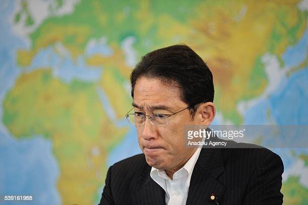 Minister of Foreign Affairs Fumio Kishida addresses to journalists during a press conference on June 10 2016 in Tokyo Japan after Chinese warship had...