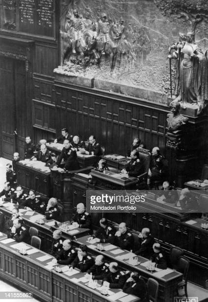 Minister of Foreign Affairs Galeazzo Ciano speaking at the Chamber of Fasci and Corporations Rome 16th December 1939
