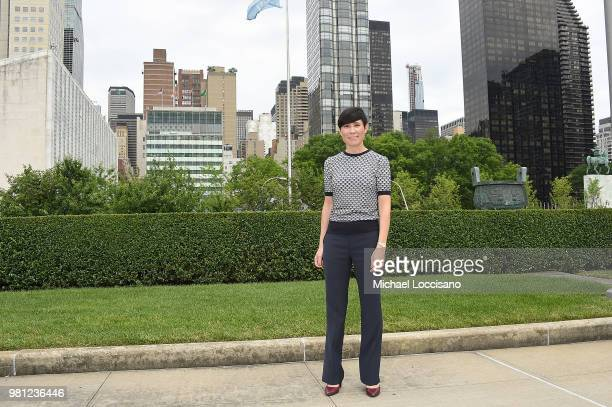 Minister of Foreign Affairs HE Ms. Ine Eriksen Soreide of Norway stands in the Rose Garden during Norway's campaign launch for an elected seat in The...