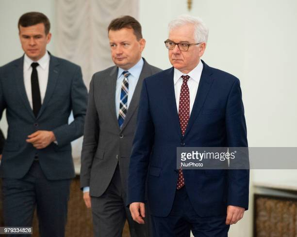 Minister of Foreign Affairs Jacek Czaputowicz Minister of National Defence Mariusz Blasczak and Minister of Sport and Tourism Witold Banka are seen...