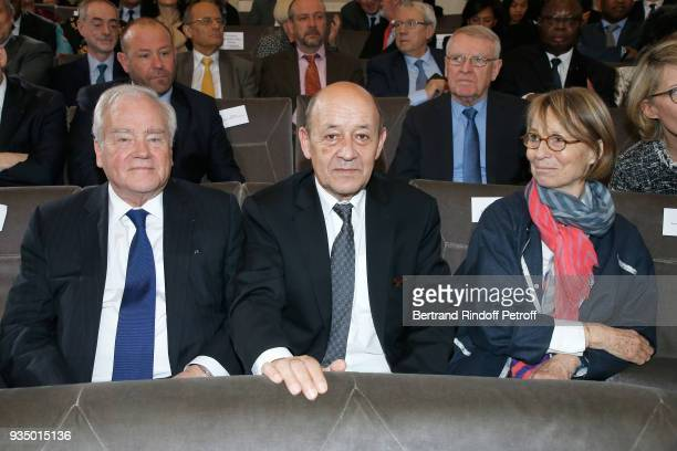 Minister of Foreign Affairs JeanYves Le Drian and French Minister of Culture Francoise Nyssen attend the French Academy visit by GrandDuc Henri and...
