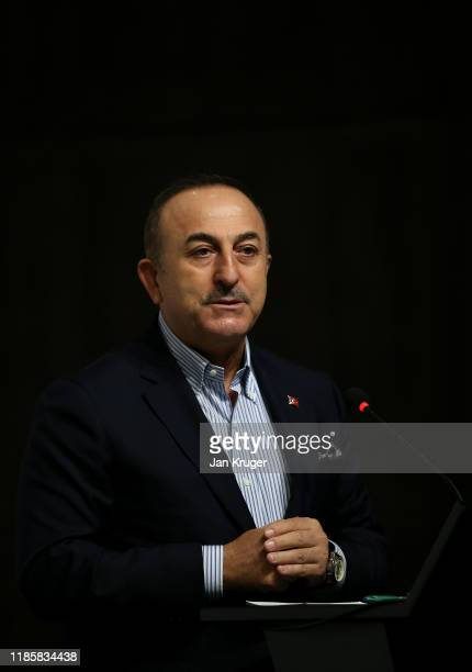 Minister of Foreign Affairs Mevlut Cavusoglu addresses the media ahead of the Turkish Airlines Open at The Montgomerie Maxx Royal on November 06 2019...