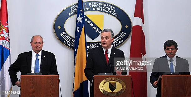 Minister of foreign Affairs of Bosnia and Herzegovina Zlatko Lagumdzija and his counterparts Ivan Mrkic of Serbia and Ahmet Davutoglu of Turkey...