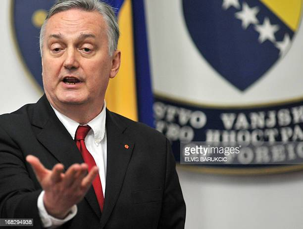 Minister of foreign Affairs of Bosnia and Herzegovina Zlatko Lagumdzija addresses the media during a press conference following a meeting with his...