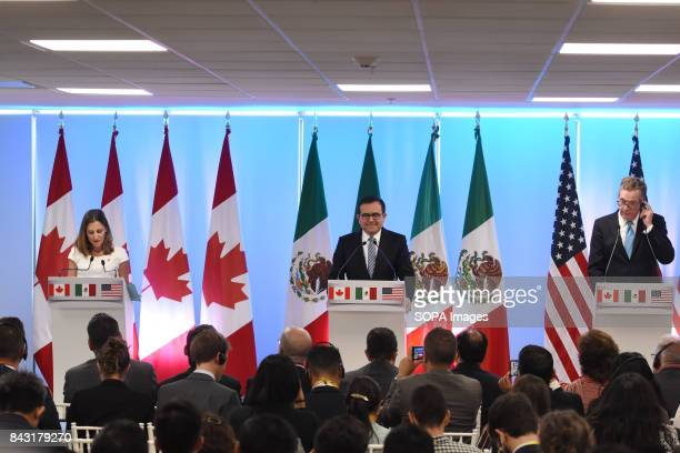 Minister of Foreign Affairs of Canada Chrystia Freeland Mexico's Secretary of Economy Ildefonso Guajardo Villarreal and United States Trade...