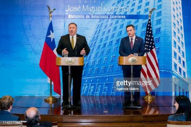Minister of Foreign Affairs of Chile Roberto Ampuero and US Secretary of State Mike Pompeo offer a press conference at the Ministry of Foreign...