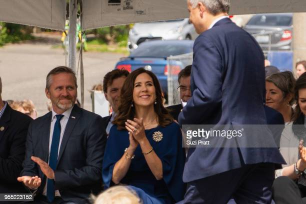 Minister of Foreign Affairs of Denmark Anders Samuelsen and Her Royal Highness the Crown Princess Mary of Denmark applaud at the Nordic Museum on May...