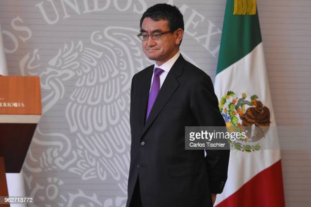 Minister of Foreign Affairs of Japan Taro Kono looks on during a press conference as part of his welcome reception on May 24 2018 in Mexico City...