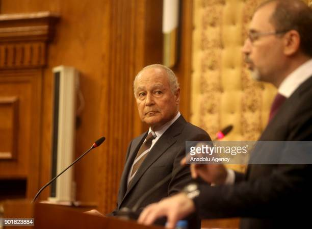 Minister of Foreign Affairs of Jordan Ayman Al Safadi and Arab League Secretary General Ahmad Abu AlGhait hold a joint press conference after the...