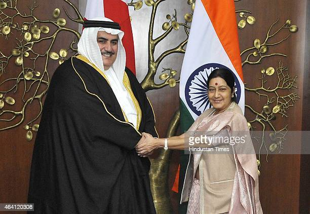 Minister of Foreign Affairs of Kingdom of Bahrain Sheikh Khalid bin Ahmed bin Mohammed Al Khalifa with Minister of External Affairs Sushma Swaraj...