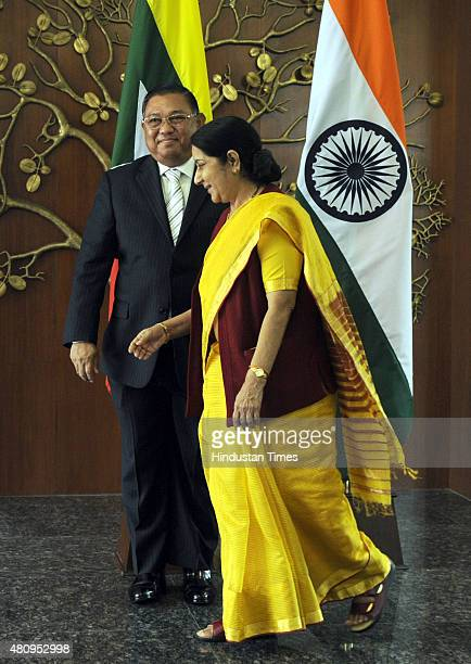 Minister of Foreign Affairs of Myanmar U Wunna Maung Lwin with External Affairs Minister Sushma Swaraj during the IndiaMyanmar Joint Consultative...