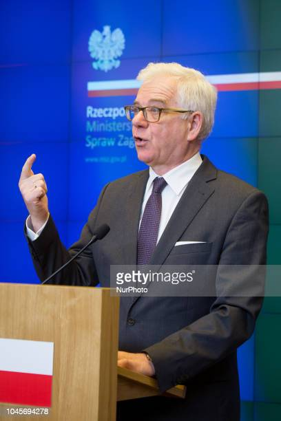 Minister of Foreign Affairs of Poland Jacek Czaputowicz during the press conference at Ministry in Warsaw Poland on 3 October 2018