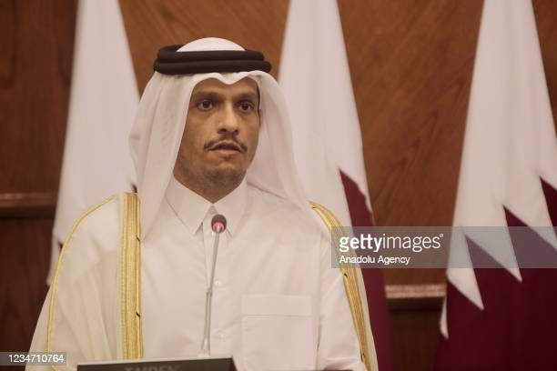 Minister of Foreign Affairs of Qatar Sheikh Mohammed Bin Abdulrahman Al-Thani and Jordanian Foreign Minister Ayman Safadi give a joint press...