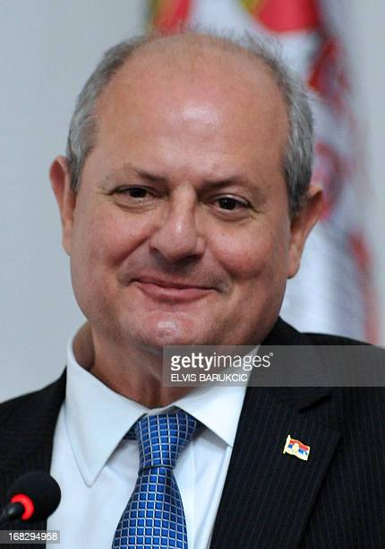 Minister of foreign Affairs of Serbia Ivan Mrkic addresses the media during a press conference following a meeting with his counterparts Ahmet...