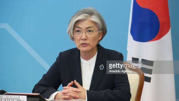 Minister of Foreign Affairs of South Korea Kang Kyungwha meets with Foreign Affairs Minister of Kazakhstan Kayrat Abdrahmanov during her official...