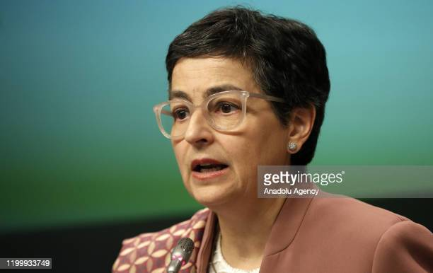 Minister of Foreign Affairs of Spain Arancha Gonzalez Laya speaks during a joint press conference with Minister for Foreign Affairs of Greece Nikos...