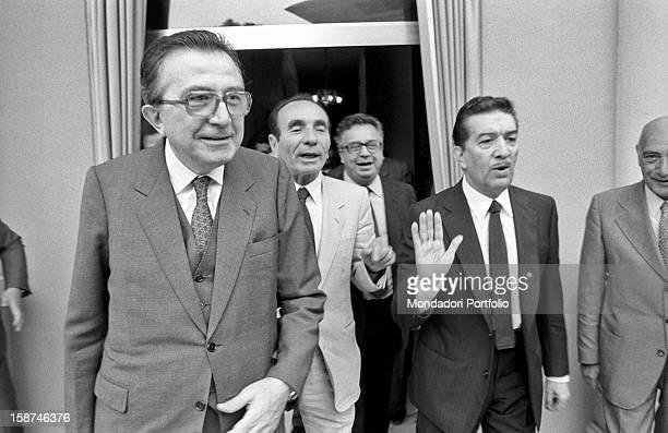 Minister of Foreign Affairs of the Italian Republic Giulio Andreotti Italian businessman and publisher Giuseppe Ciarrapico and Italian senator Franco...