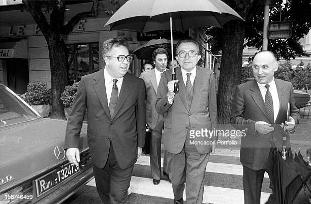 Minister of Foreign Affairs of the Italian Republic Giulio Andreotti and Italian businessman and publisher Giuseppe Ciarrapico attending the 7th...