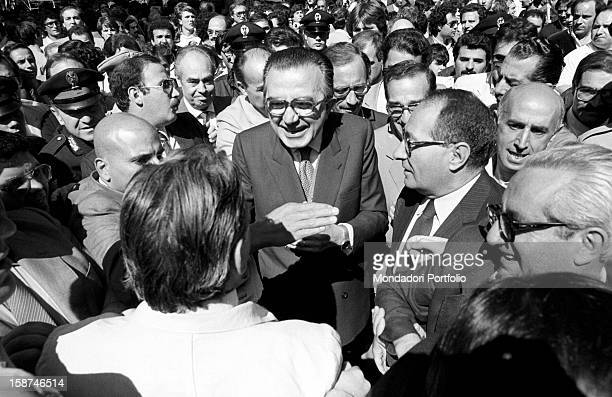 Minister of Foreign Affairs of the Italian Republic Giulio Andreotti attending the 7th National Friendship Day Fiuggi September 1983