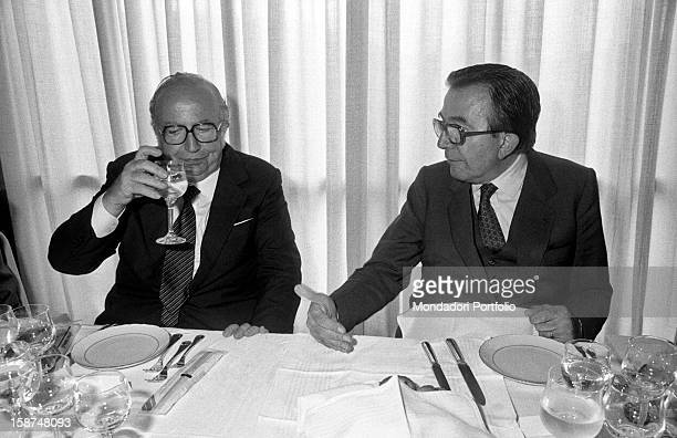 Minister of Foreign Affairs of the Italian Republic Giulio Andreotti talking to the Minister of Defence of the Italian Republic Giovanni Spadolini...