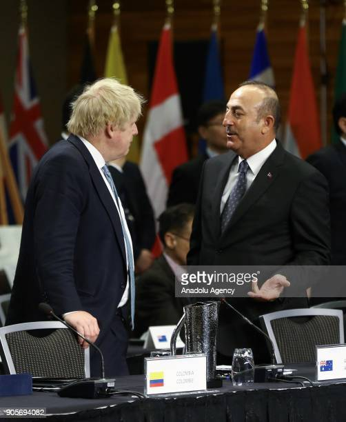 Minister of Foreign Affairs of Turkey Mevlut Cavusoglu chats with Britain's Secretary of State Boris Johnson during Vancouver Foreign Ministers...