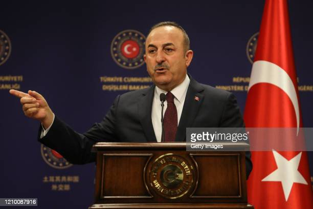 Minister of Foreign Affairs of Turkey Mevlut Cavusoglu speaks at a joint press conferance after his meeting with British Foreign Secretary Dominic...