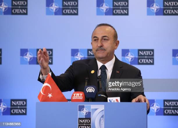 Minister of Foreign Affairs of Turkey, Mevlut Cavusoglu speaks during a press conference held after NATO Foreign Ministers Meeting organized within...