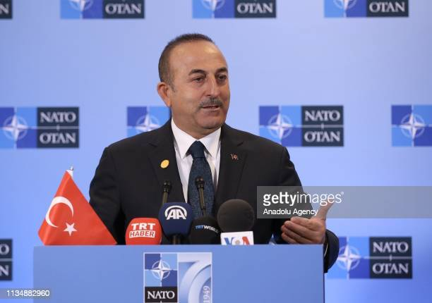 Minister of Foreign Affairs of Turkey Mevlut Cavusoglu speaks during a press conference held after NATO Foreign Ministers Meeting organized within...