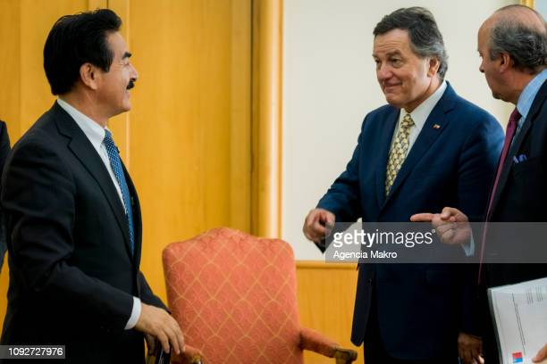 Minister of Foreign Affairs Roberto Ampuero talks with the Minister of State for Foreign Affairs of Japan Masahisa Sato at the end of a working...