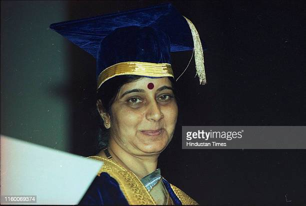 Minister of Health and Family Welfare Sushma Swaraj during AIIMS 38th Annual Convocation in New Delhi India Former External Affairs Minister and...