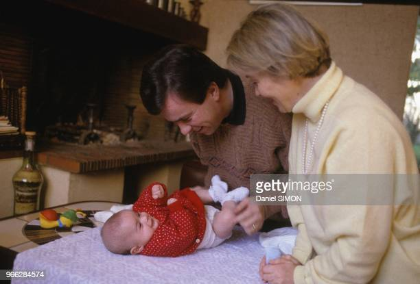 Minister of Health Claude Evin and wife and baby portrait session on October 31 1988 in SaintNazaire France