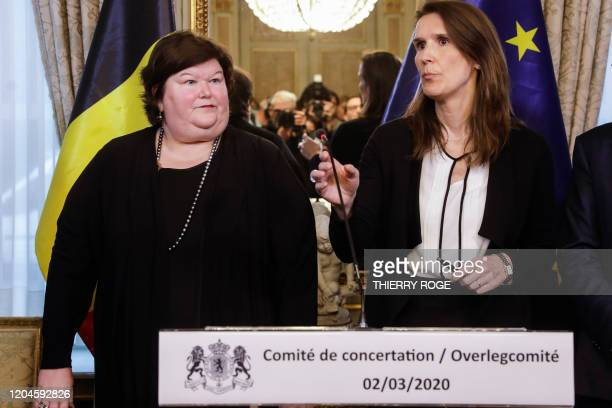 Minister of Health Maggie De Block and Belgian Prime Minister Sophie Wilmes give a press conference after a meeting of the consultative committee...